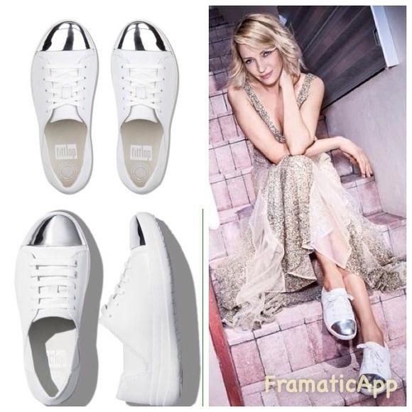 8f4f84e78ed91 FitFlop F-Sporty White Mirror Toe Sneakers